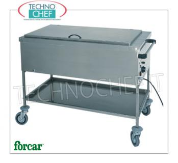 FORCAR - Technochef, Warm trolley in bain-marie, Mod.CS1751 Stainless steel thermal bain-marie / bowl thermal trolley, FORCAR brand, with tank for 1 Gastro-Norm 1/1 bowl, h 200 mm (excluded) and lower shelf, adjustable thermostat + 30 ° / + 90 ° C, V.230 / 1, Kw.2.00, dim.mm.560x650x850h