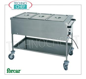FORCAR - Technochef, Warm trolley in bain-marie, Mod.CT1756 Stainless steel bain-marie thermal trolley, FORCAR, with tank for 1 Gastro-Norm 1/1 bowl, h 200 mm (excluded) and lower shelf, adjustable thermostat + 30 ° / + 90 ° C, V.230 / 1, Kw. 2.00, dim.mm.560x650x850h