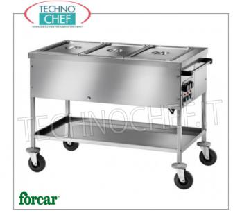 FORCAR - Technochef, Warm trolley in bain-marie, Mod.CT1758TD Stainless steel bain-marie thermal trolley, brand FORCAR, with tub for 2 Gastro-Norm 1/1 basins, h 150 mm (not included) and lower shelf, adjustable thermostat + 30 ° / + 90 ° C for each basin, V.230 / 1, Kw.2.00, dim.mm.840x650x850h