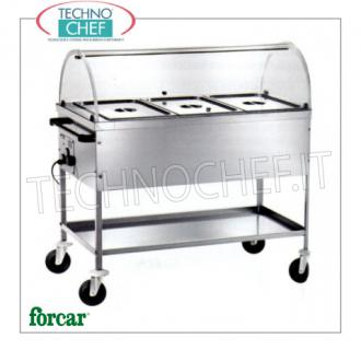 FORCAR - Technochef, Warm trolley in bain-marie, 3 GN 1/1 containers, Mod.CT1760C Stainless steel bain-marie thermal trolley, FORCAR, with tank for 3 Gastro-Norm 1/1 pans, h 200 mm (excluded), plexiglass dome and lower surface, adjustable thermostat + 30 ° / + 90 ° C, V.230 / 1, Kw.2.00, dim.mm.1170x670x1140h