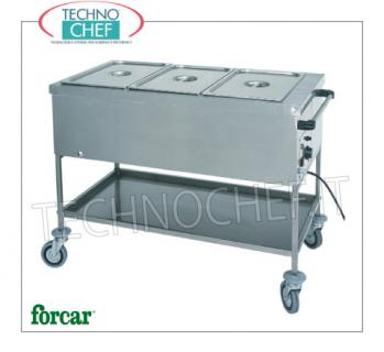 FORCAR - Technochef, Warm Drying Cart, Mod.CTS1757 Dry thermal trolley in stainless steel, FORCAR, with tank for 1 Gastro-Norm 1/1 bowl, h 200 mm (excluded) and lower shelf, adjustable thermostat + 30 ° / + 90 ° C, V.230 / 1, Kw .1.00, dim.mm.560x650x850h