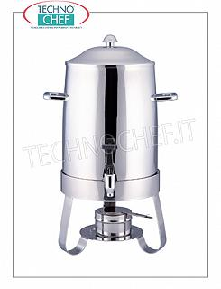 Hot drink dispensers before breakfast DISTRIBUTOR for HOT DRINKS in stainless steel, with alcohol burner, complete with supply tap, capacity lt.9, dim.mm.330x240x540h
