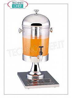 Juice and beverage dispensers (buffet) DRINKS DISPENSER in stainless steel with 8-l transparent container, complete with dispensing tap, REFRIGERATED with CENTRAL TUBE containing ICE, dim.mm.270x220x580h