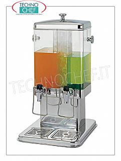 Juice and beverage dispensers (buffet) DOUBLE DRINK DISPENSER in stainless steel with transparent container of lt.5 + 5, with relative independent supply taps, REFRIGERATED with CENTRAL TUBE containing ICE, dim.mm.350x320x580h
