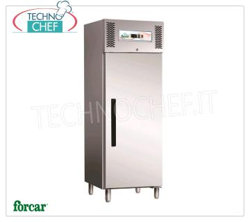 FORCAR - Technochef, Professional Freezer Wardrobe 1 Door, lt.537, negative temperature, Mod.ECV600BT 1 Door Refrigerator / Freezer Cabinet, Brand FORCAR, with stainless steel structure, capacity lt.537, low temperature -18 ° / -22 ° C, ventilated refrigeration, Gastro-Norm 2/1, V.230 / 1, Kw. 0.6, Weight 138 Kg, dim.mm.680x845x2000h