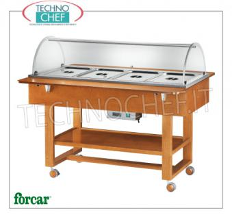 FORCAR - Technochef, Warm trolley in bain-marie, 4 GN 1/1 containers, Mod. ELC2832 Warm display cabinet in bain-marie in WALNUT color, FORCAR brand, complete with plexiglass dome, 2 support shelves and lower shelf, capacity 4 GN 1/1 (excluded), temp. + 30 ° / + 90 ° C, V.230 / 1, Kw.2.00, dim.mm.1480x1120x1250h