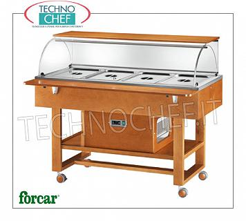 Refrigerated display stands Refrigerated display trolley in WALNUT or WENGE color, brand FORCAR, complete with plexiglass dome, 2 support shelves, capacity 4 GN 1/1 (excluded), temp. + 2 ° / + 10 ° C, static refrigeration , V.230 / 1, Kw.0.25, dim.mm.1480x900x1260h