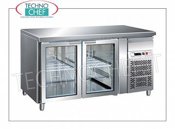 Refrigerated refrigerated / freezer tables Gastronorm Refrigerated table with 2 GLASS DOORS and neutral drawer, FORCAR brand, capacity 282 liters, operating temperature -2 ° / + 8 ° C, ventilated refrigeration, internal light, Gastro-Norm 1/1, V.230 / 1, Kw. 0.35, Weight 98 Kg, dim.mm.1360x700x850h