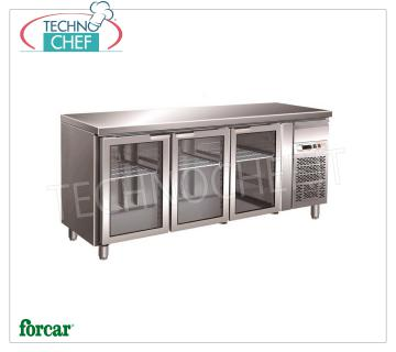 Refrigerated 3 GLASS DOORS and neutral drawer, lt.417, FORCAR brand Refrigerated 3 GLASS DOORS and neutral drawer, FORCAR brand, capacity lt.417, working temperature -2 ° / + 8 ° C, ventilated refrigeration, internal light, Gastro-Norm 1/1, V.230 / 1, Kw .0,35, Weight 134 Kg, dim.mm.1795x700x850h