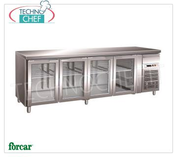4 GLASS DOOR refrigerated table and neutral drawer, l.553, FORCAR brand Refrigerated table 4 GLASS DOORS and neutral drawer, FORCAR brand, capacity lt.553, working temperature -2 ° / + 8 ° C, ventilated refrigeration, internal light, Gastro-Norm 1/1, V.230 / 1, Kw .0,35, Weight 153 Kg, dim.mm.2230x700x850h