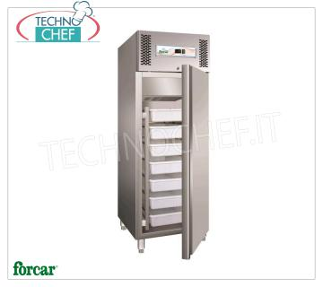 Forcar - Fridge Cabinet for Fresh Fish, lt. 507, Static, Temperature -5 ° / + 2 ° C, Class D, mod.G-GN600FISH Refrigerator 1 door, Professional, capacity 507 lt, Temperature -5 ° / + 2 ° C, Static refrigeration, ECOLOGICAL in Class D, Gas R290, including 6 boxes mm 600x400x130h, V.230 / 1, Kw.0, 51, Weight 145 Kg, dim.mm.680x810x2010h
