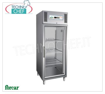FORCAR - Technochef, Professional Freezer Cabinet 1 door, lt. 650, negative temperature, Mod.GN650BTG 1 glass door fridge / freezer cabinet, FORCAR brand, stainless steel structure, capacity lt. 650, low temperature -18 ° / -22 ° C, ventilated refrigeration, Gastro-Norm 2/1, V.230 / 1, Kw. 0,5, Weight 153 Kg, dim.mm.740x830x2010h