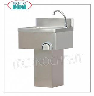 Column hand-operated stainless steel hand basin, wall-mounted Stainless steel wall-mounted hand basin with upstand, complete with knee control with timed spout and column casing, dimensions mm.500x400x800h