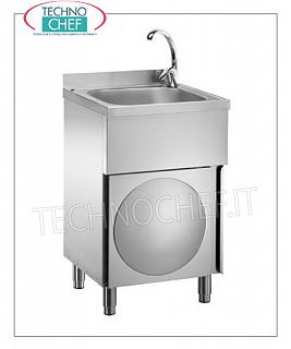 STAINLESS STEEL HAND WASHING MACHINE / TOOL WASHER with hinged door Stainless steel hand / tool washer on cabinet with hinged door, 400x400x250 mm tank, with hot / cold water mixer, dimensions 500X500X850h mm