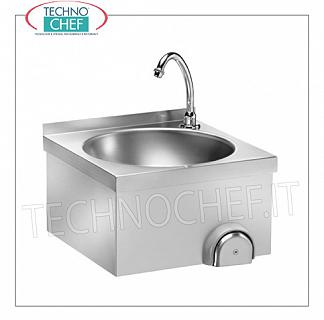 Stainless steel hand basin with knee control, for wall installation Wall-mounted stainless steel hand basin with upstand, circular bowl complete with knee control with timed spout, dimensions 400x400x320h mm