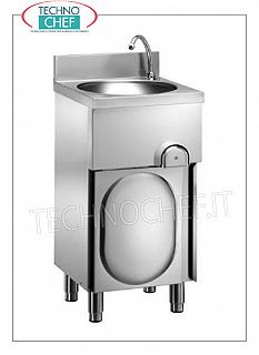 Stainless steel hand basin on cabinet with hinged door, knee operated Stainless steel hand basin on cabinet with hinged door, circular bowl complete with knee control with timed spout, dimensions 400x400x850h mm