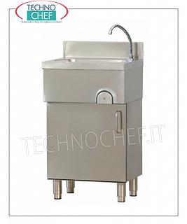 STAINLESS STEEL WASHBASINS on FURNITURE with hinged door, KNEE CONTROL Stainless steel hand basin on cabinet with hinged door, knee operated with timed spout, dimensions 500x400x850h mm