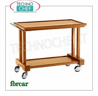 Wooden service carts Service cart in solid wood, FORCAR brand, 2 WALNUT stained plywood tops, 4 swivel wheels diam.100 mm, dim.mm.810x550x820h