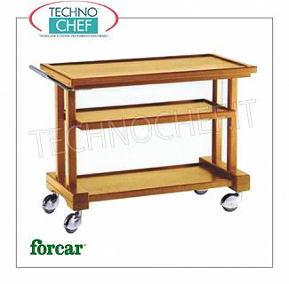 Wooden service carts Service cart in solid wood, FORCAR brand, 3 WALNUT stained plywood tops, 4 swivel wheels diam.100 mm, dim.mm.810x550x820h