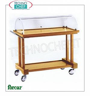 Trolleys for desserts and wooden cheeses Cart for cakes, cheeses and appetizers in wood color NOCE, FORCAR brand, with semicircular plexiglass dome, 2 laminate tops, 880x550x1080h dim.