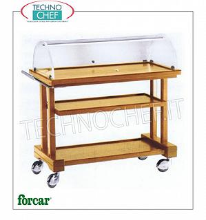 Trolleys for desserts and cheeses Trolley for sweets, cheeses and appetizers in NOCE or WENGE 'wood, FORCAR brand, with semi-circular plexiglass dome, 3 laminate tops, COMPLETE RANGE