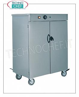 Hot plate trolleys Stainless steel trolley-mounted warming cabinet, insulated double-walled door structure, 60-tray capacity, 1 intermediate shelf, adjustable temperature from + 30 ° to + 90 ° C, V.230 / 1, Kw.0,8, dim.mm .390x420x950h