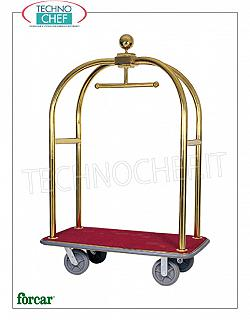 Forcar - TROLLEY FOR BAGS / CASES with COAT RACK, art. PV2001 Clothes trolley and bag holder, with structure in BRASS or STAINLESS steel tube, wooden shelf covered with carpet, dim.mm.1240x640x1900h
