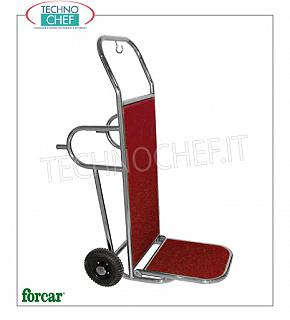 Forcar - LUGGAGE / LUGGAGE TROLLEY, 2 wheels, Fitted carpet, art. PV2002I Luggage trolley, with BRASS or STAINLESS steel structure, wooden floors covered with carpet, 2 wheels diam.250 with support feet, dim.mm.560x830x1230h