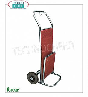 Forcar -THE LUGGAGE CARRIER / LUGGAGE - 2 wheels, Covered Carpet, mod. PV2003I Luggage trolley, with BRASS or STAINLESS steel structure, wooden floors covered with carpet, 2 wheels diam.250, dim.mm.560x700x1200h
