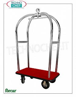 Forcar - LUGGAGE / LUGGAGE TROLLEY with COAT HOOK, art. PV2021I Clothes trolley and bag holder, with structure in BRASS or STAINLESS steel tube, wooden shelf covered with carpet, 4 pneumatic wheels, dim.mm.1100x620x1980h