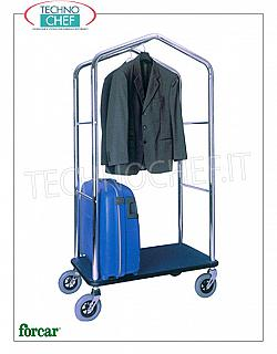 Forcar - LUGGAGE / LUGGAGE TROLLEY with COAT RACK, art. PV4056 Clothes trolley and bag holder, with structure in BRASS or CHROMED steel tube, wooden shelf covered with carpet, 4 swivel wheels, dim.mm.950x550x1830h