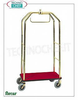 Forcar - LUGGAGE / LUGGAGE TROLLEY with APPEDIABITI, art. PV4062 Clothes trolley and valet stand, brand FORCAR, with structure in BRASS or CHROMED steel tube, wooden top covered with carpet, 4 swivel wheels, dim.mm.950x550x1900h