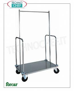 Forcar - CLOTHES AND LUGGAGE RACK / LUGGAGE RACK, art. PVI4024 Clothes trolley and valet stand, FORCAR brand, with stainless steel tube structure and stainless steel plate, dim.mm.1000x560x1600h