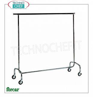 Luggage / luggage trolleys Clothes trolley, brand FORCAR, with chromed steel tube structure, extendable rod on both sides, 4 swivel wheels, dim.mm.1500x530x1520h