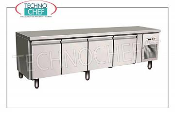 Forcar- Professional 4-door Refrigerator / Refrigerated Table, Mod.UGN4100TN 4 DOORS refrigerated table, FORCAR brand, capacity 350 liters, operating temperature -2 ° / + 8 ° C, ventilated refrigeration, Gastro-Norm 1/1, V.230 / 1, Kw.0.35, Weight 130 Kg , dim.mm.2230x700x650h