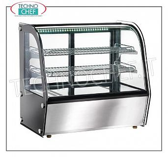 Hot counter display cases WINDOW DISPLAY DISH WASHER, brand FORCAR, Temperature Adjustable from + 30 ° to + 90 ° C, ventilated, with 2 intermediate shelves, sliding glass on the operator side, lighting, capacity 100 lt, V.230 / 1, Kw.1, 1, outside dimensions mm.710x460x670h