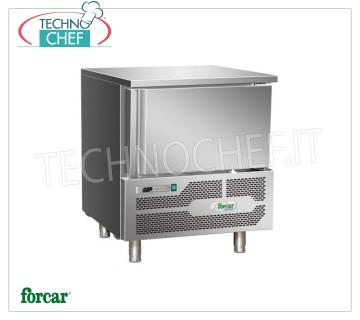 FORCAR - Technochef, Professional Blast Chiller, 3 GN 1/1 Trays, Mod. G-AB1203 BLAST CHILLER-FREEZER for 3 TRAYS Gastro-Norm 1/1 or mm.600x400, Version with ECOLOGICAL GAS R290, yield POSITIVE CYCLE + 90 ° + 3 ° C / Kg. 12, NEGATIVE CYCLE + 90 ° -18 ° C / Kg .8, automatic defrost, V.230 / 1 + N, Kw.0,77, Weight 80 Kg, dim.mm.800x825x945h