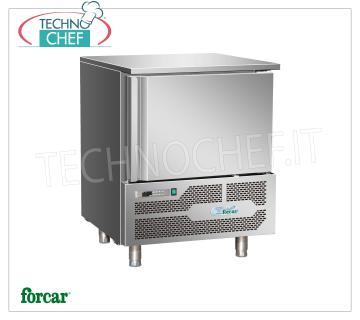 FORCAR - Technochef, Professional Blast Chiller, 5 GN 1/1 Trays, Mod. G-AB1805 BLAST CHILLER-FREEZER for 5 TRAYS Gastro-Norm 1/1 or mm.600x400, Version with ECOLOGICAL GAS R290, yield POSITIVE CYCLE + 90 ° + 3 ° C / Kg. 18, NEGATIVE CYCLE + 90 ° -18 ° C / Kg .14, automatic defrost, V.230 / 1 + N, Kw. 0.8, Weight 95 Kg, dim.mm.800x825x1015h