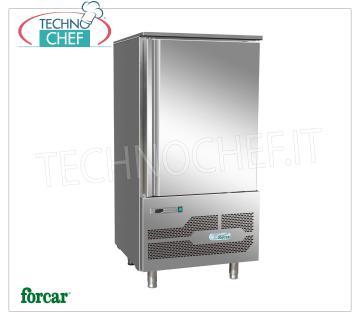 FORCAR - Technochef, Professional Blast Chiller, 10 GN 1/1 Trays, Mod. G-AB4010 BLAST CHILLER-FREEZER for 10 TRAYS Gastro-Norm 1/1 or mm.600x400, ECOLOGICAL GAS R 290 version, CYCLE yield + 90 ° + 3 ° C - Kg.40, NEGATIVE CYCLE + 90 ° -18 ° C - Kg .28, automatic defrost, V.230 / 1 + N, Kw.1,3, Weight 150 Kg, dim.mm.800x825x1645h