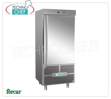 FORCAR - Technochef, Professional Blast Chiller, 15 GN 1/1 Trays, Mod. G-AB5514 BLAST CHILLER-FREEZER for 15 TRAYS Gastro-Norm 1/1 or mm.600x400, Version with ECOLOGICAL GAS R 290, CYCLE yield + 90 ° + 3 ° C / Kg.50, NEGATIVE CYCLE + 90 ° -18 ° C / Kg .38, automatic defrost, V.400 / 3 + N, Kw.2.5, Weight 210 Kg, dim.mm.800x825x2170h