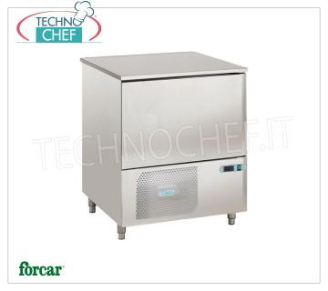 FORCAR - Technochef, Professional Blast Chiller, 3 GN 1/1 Trays, Mod.AS1104N BLAST CHILLER-FREEZER with GUIDES for 3 Gastro-Norm TRAYS 1/1 or mm.600x400, Gas R 452N, yield POSITIVE CYCLE + 90 ° + 3 ° C / Kg. 11, NEGATIVE CYCLE + 90 ° -18 ° C / Kg .6, V.230 / 1 + N, Kw.0,841, Weight 110 Kg, dim.mm.820x700x800h