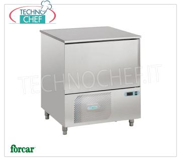 FORCAR - Technochef, Professional Blast Chiller, 5 GN 1/1 Trays, Mod.AS1105N BLAST CHILLER-FREEZER with GUIDES for 5 TRAYS Gastro-Norm 1/1 or mm.600x400, Gas R 452N, yield POSITIVE CYCLE + 90 ° + 3 ° C / Kg. 18, NEGATIVE CYCLE + 90 ° -18 ° C / Kg .9, V.230 / 1 + N, Kw.0,875, Weight 120 Kg, dim.mm.820x700x900h