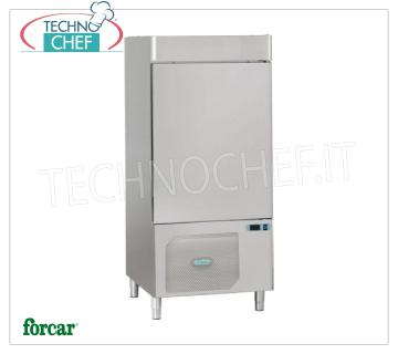 FORCAR - Technochef, Professional Blast Chiller, 10 GN 1/1 Trays, Mod.AS1110N BLAST CHILLER-FREEZER with GUIDE for 10 TRAYS Gastro-Norm 1/1 or mm.600x400, Gas R 452N, yield POSITIVE CYCLE + 90 ° + 3 ° C / Kg. 36, NEGATIVE CYCLE + 90 ° -18 ° C / Kg .18, V.400 / 3 + N, Kw. 2,062, Weight 190 Kg, dim.mm.820x800x1750h