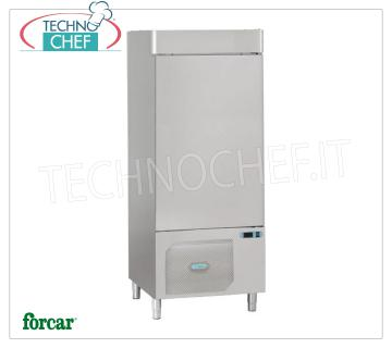 FORCAR - Technochef, Professional Blast Chiller, 14 GN 1/1 Trays, Mod.AS1114N BLAST CHILLER-FREEZER with GUIDES for 14 TRAYS Gastro-Norm 1/1 or mm.600x400, Gas R 452N, yield POSITIVE CYCLE + 90 ° + 3 ° C / Kg.50, NEGATIVE CYCLE + 90 ° -18 ° C / Kg .26, V.400 / 3 + N, Kw.2,11, Weight 230 Kg, dim.mm.820x800x1950h
