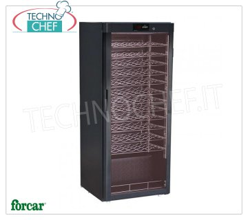 Forcar - STATIC REFRIGERATED WINE CELLAR for 72 bottles, TEMP. + 5 ° / + 18 ° C, Mod.BJ308 Refrigerated wine cellar, 1 glass door, capacity 72 bottles, temperature + 5 ° / + 18 ° C, static refrigeration, LED lighting, V.230 / 1, Kw.0.1, Weight 72 Kg, dim.mm. 600x603x1560h