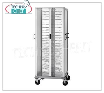 CONTAINER TRAY READY with PLATE GRILL, capacity 96 plates PLATE CARRIER READY with GRIDDLE PLATE PAINTED FIXED STEP 60 mm for a MAXIMUM of 96 PLATES with DIAMETER from 180 to 230 mm, dim.mm.750x780x1830h