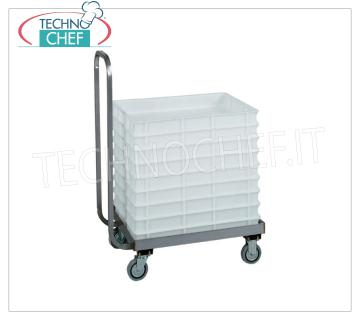 Technochef - TROLLEY for CONTAINERS 60x40 cm pizza dough, mod. CB1444 Trolley for pizza box from 60x40 cm with push handle, dim.mm.720x420x960h