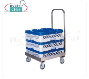 TROLLEY for STAINLESS STEEL DISHWASHERS WITH HANDLE Stainless steel basket holder trolley with handle, dim.mm.520x580x960h
