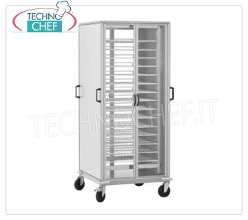 TROLLEY READY TO USE with 10 GN 2/1 PAINTED GRILLED PLANS READY-TO-USE PLATE TROLLEY with 10 PAINTED GRILLED PLATES Gastro-Norm 2/1 (650x530 mm), ADJUSTABLE in height with a STEP of 60 mm, dim.mm.750x780x1700h