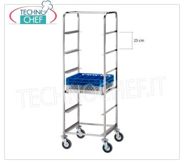CART with 6 guides for DISHWASHER BASKETS Trolley with Guide Rails 25 cm, for 6 baskets Dishwasher in stainless steel, dim.mm.650x650x1700h